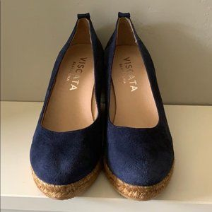 Suede Wedges in Blue Made By Viscata